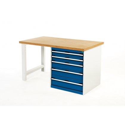 Bott Cubio Metal Pedestal Workbench - Multiplex Top & 5 Drawers (840H x 1500W x 750D)