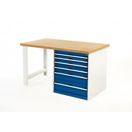 Bott Cubio Metal Pedestal Workbench - Multiplex Top & 6 Drawers (840H x 1500W x 750D)