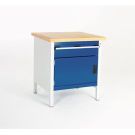Bott Cubio Metal Storage Bench - Lino Top, 1 Cupboard & 1 Drawer (840H x 750W x 750D)