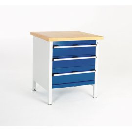 Bott Cubio Metal Storage Bench - Lino Top & 3 Drawers (840H x 750W x 750D)