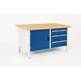 Bott Cubio Metal Storage Bench - Multiplex Top, 1 Cupboard & 3 Drawers (840H x 1500W x 750D)
