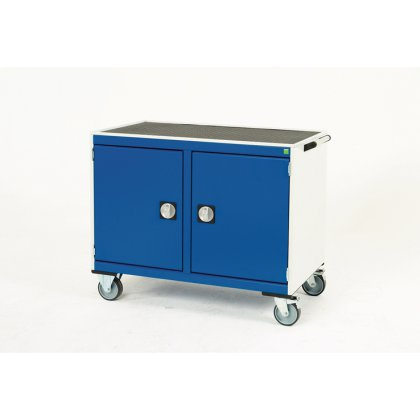 Bott Cubio Metal Maintenance Trolley - Lino Top & 2 Cupboards (885H x 1050W x 525D)