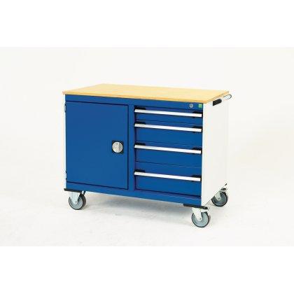Bott Cubio Metal Maintenance Trolley - Multiplex Top, 4 Drawers & Cupboard (885H x 1050W x 525D)