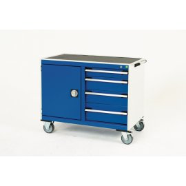 Bott Cubio Metal Maintenance Trolley - Lino Top, 4 Drawers & Cupboard (885H x 1050W x 525D)