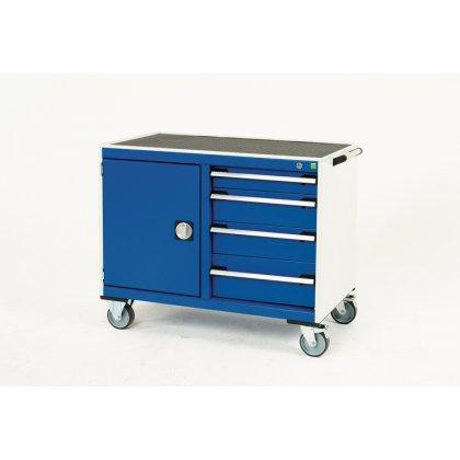 Bott Cubio Metal Maintenance Trolley - Lino Top, 4 Drawers & Cupboard (885H x 1050W x 525D)