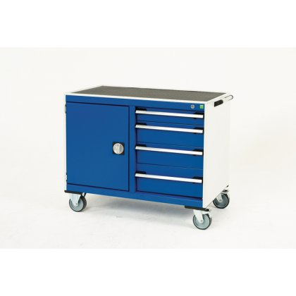 Bott Cubio Metal Maintenance Trolley - Top Tray, 4 Drawers & Cupboard (880H x 1050W x 525D)