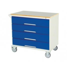 Bott Verso Metal Mobile Cabinet - 4 Drawers & Lino Top (955H x 1000W x 550D)
