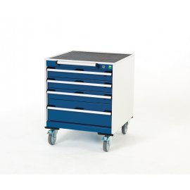 Bott Cubio Metal Mobile Drawer Cabinet - 4 Drawers (780H x 650W x 650D)
