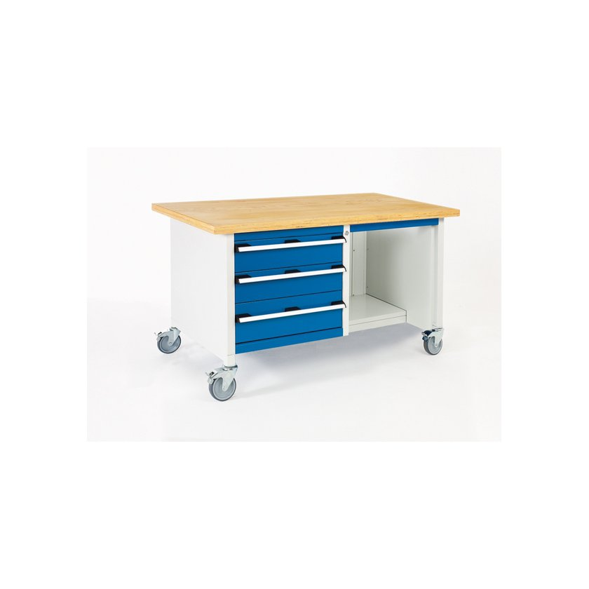 Bott Cubio Metal Mobile Storage Bench 3 Drawers 1 Shelf 840h X 1500w X 750d Sac Bott