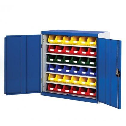 Bott Cubio Metal Storage Cupboard - With Bins (1000H x 1050W x 325D)