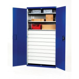 Bott Cubio Metal Heavy Duty Cupboard - 3 Shelves & 9 Drawers (2000H x 1300W x 650D)