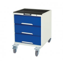 Bott Verso Metal Mobile Cabinet - 3 Drawers, Top Tray & Mat (750H x 500W x 550D)