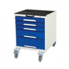 Bott Verso Metal Mobile Cabinet - 5 Drawers, Top Tray & Mat (750H x 500W x 550D)
