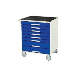 Bott Verso Metal Mobile Cabinet - 8 Drawers, Top Tray & Mat (925H x 750W x 550D)