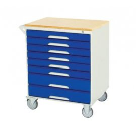 Bott Verso Metal Mobile Cabinet - 8 Drawers & Multiplex Top (955H x 750W x 550D)