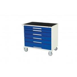 Bott Verso Metal Mobile Cabinet - 6 Drawers, Top Tray & Mat (925H x 1000W x 550D)