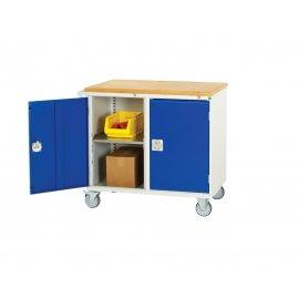 Bott Verso Metal Maintenance Trolley - Cupboard, Top Tray & Mat (925H x 1000W x 550D)