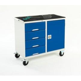 Bott Verso Metal Maintenance Trolley - 4 Drawers, 1 Cupboard, Top Tray & Mat (925H x 1000W x 550D)