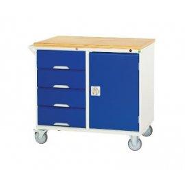 Bott Verso Metal Maintenance Trolley - 4 Drawers, 1 Cupboard & Multiplex Top (955H x 1000W x 550D)