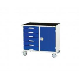 Bott Verso Metal Maintenance Trolley - 6 Drawers, 1 Cupboard, Top Tray & Mat (925H x 1000W x 550D)