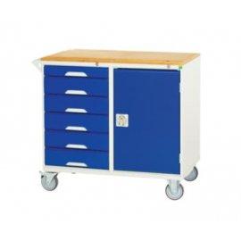 Bott Verso Metal Maintenance Trolley - 6 Drawers, 1 Cupboard & Multiplex Top (955H x 1000W x 550D)